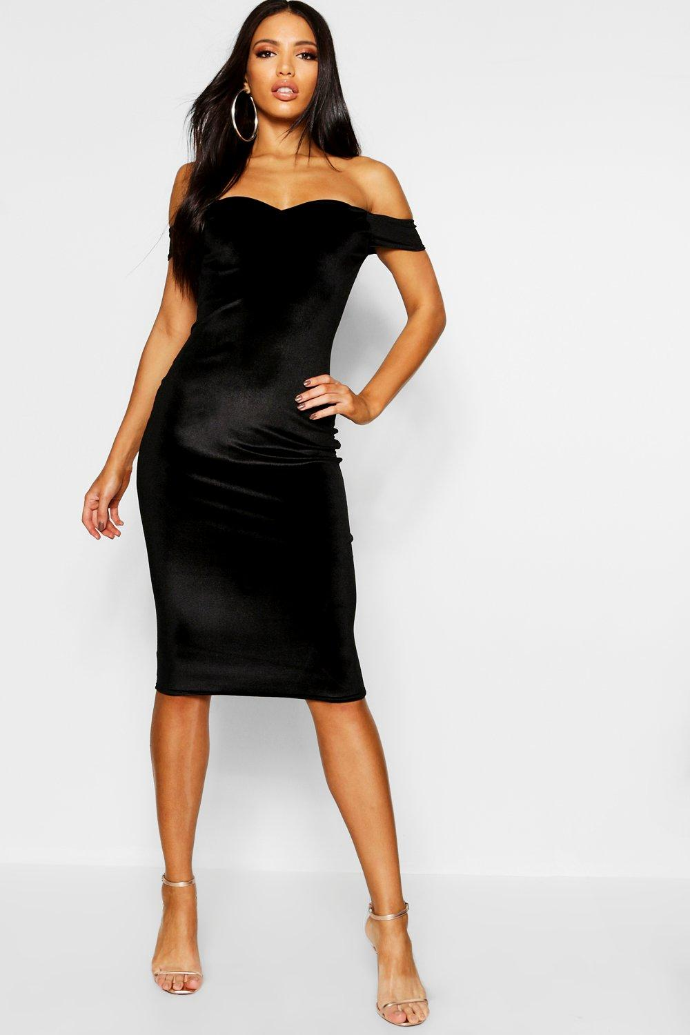 Naya Velvet Off The Shoulder Midi Dress at boohoo.com