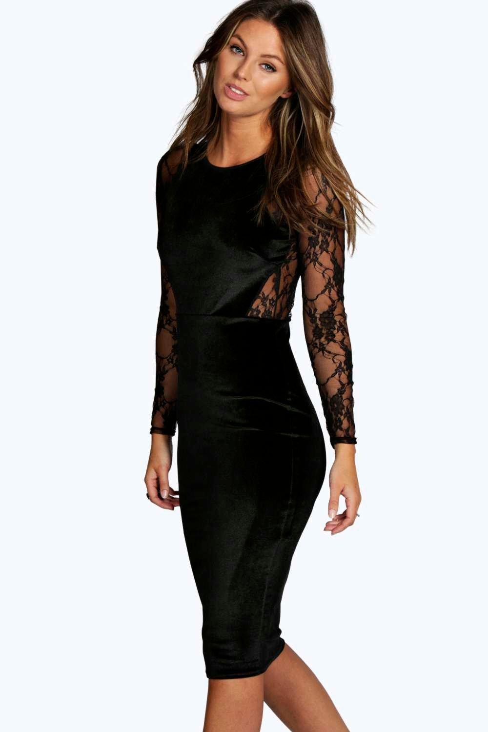 Shea Velvet & Lace Long Sleeve Bodycon Dress | Boohoo
