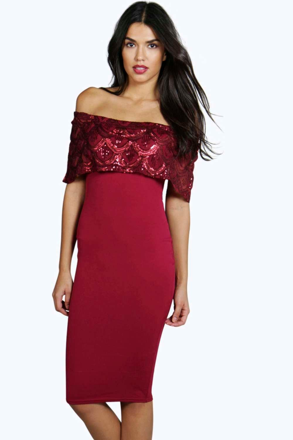 Quinn Sequin Off The Shoulder Bodycon Midi Dress