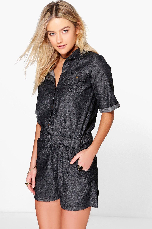 Short Sleeved Casual Fit Denim Playsuit  black