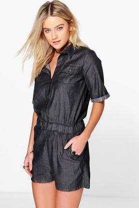 Sophia Short Sleeved Casual Fit Denim Playsuit