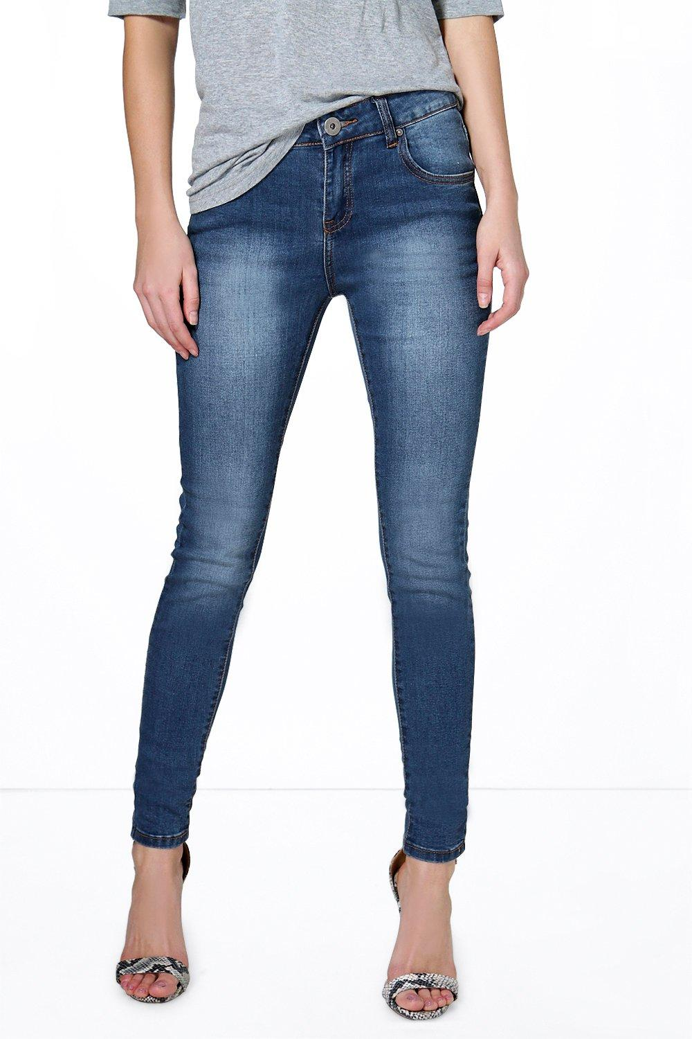 Low Rise Stitch Detail Skinny Jeans mid blue