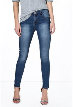 Jane Low Rise Stitch Detail Skinny Jeans