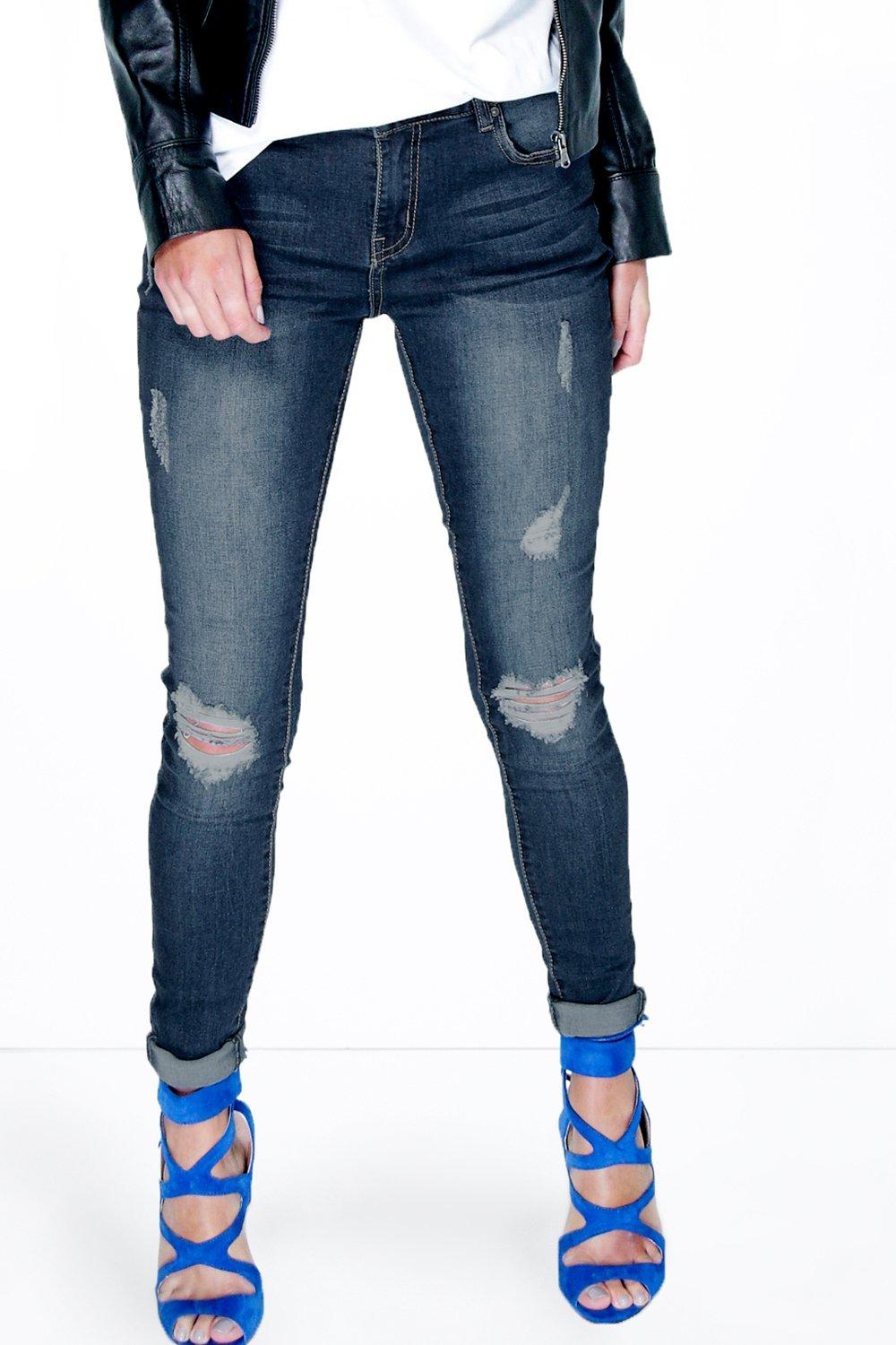 Mid Rise Distressed Skinny Jeans indigo