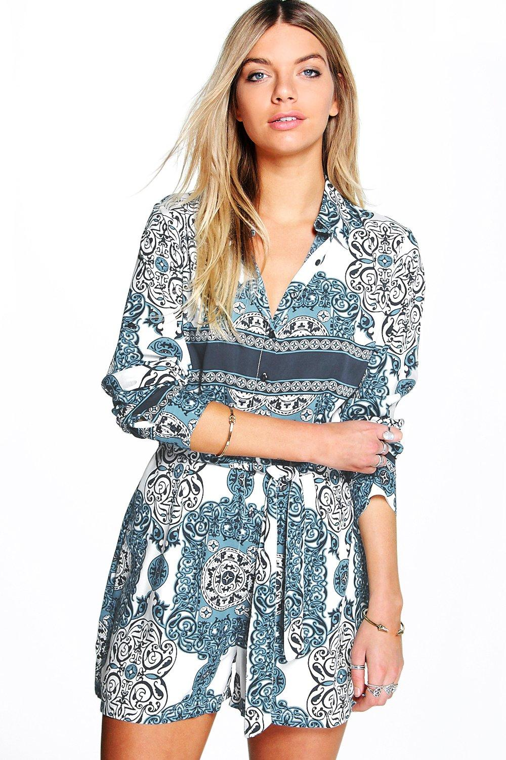 Sophie Shirt Style Tile Print Playsuit