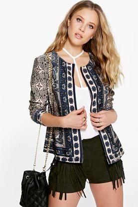 Paige Scarf Print Lined Trophy Jacket
