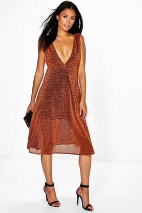 Charline Metallic Plunge Neck Skater Dress