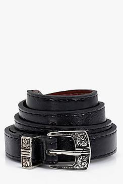 Lilly Western Buckle Skinny Belt