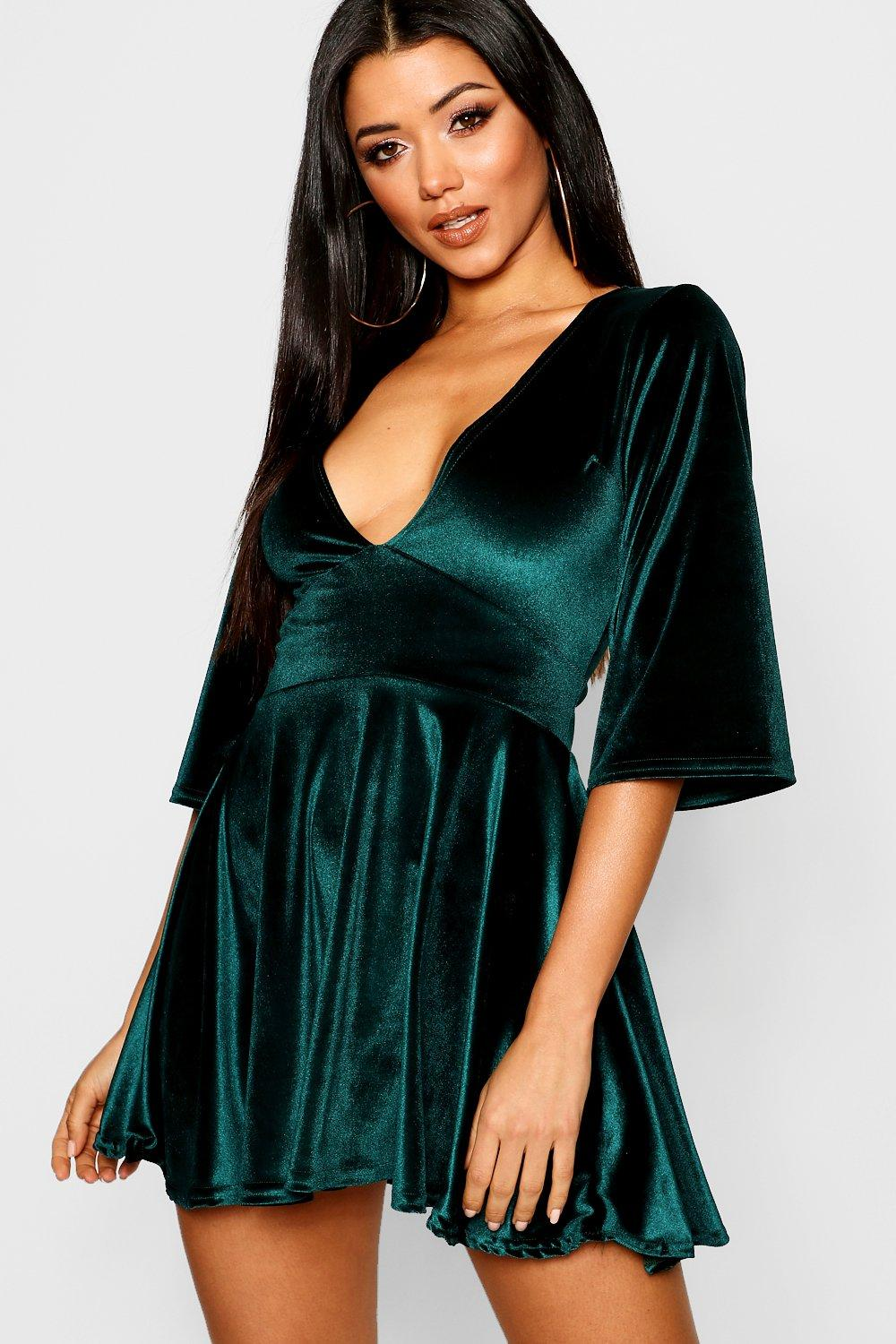 Emma Velvet Plunge Empire Seam Skater Dress