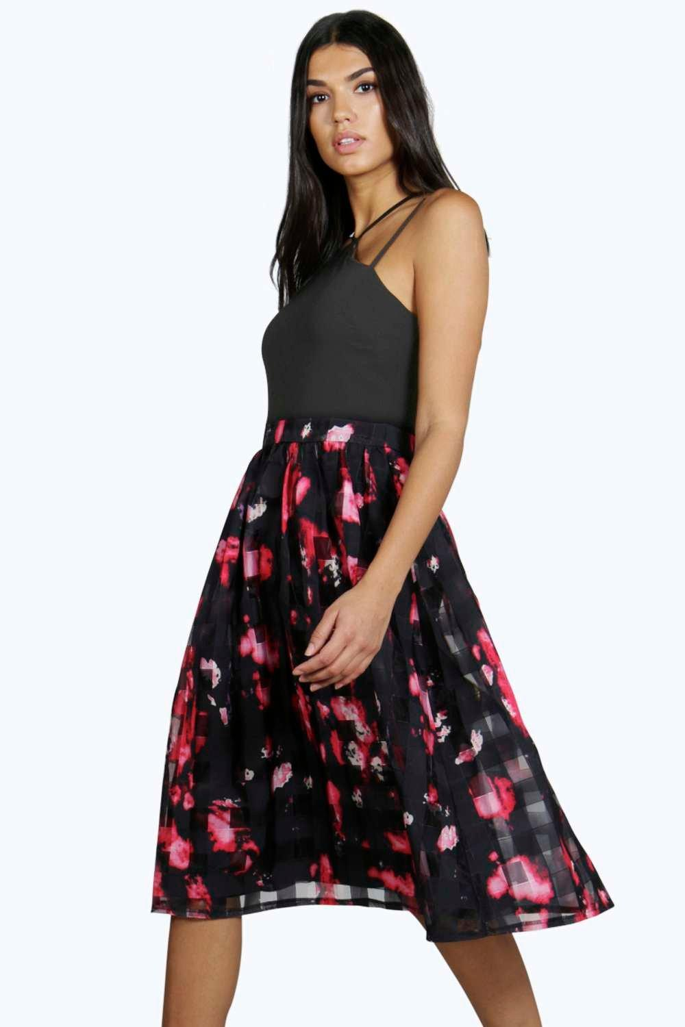 Boutique Layla Printed Grid Mesh Skater Dress