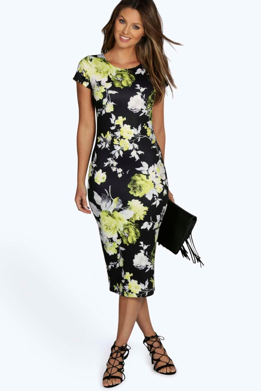 Savarine Floral Midi Bodycon Dress