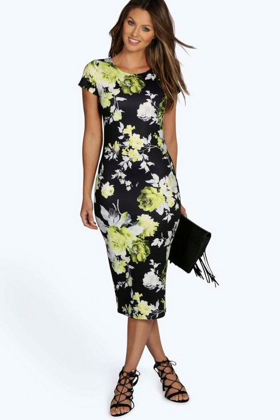 Savarine Floral Midi Bodycon Dress