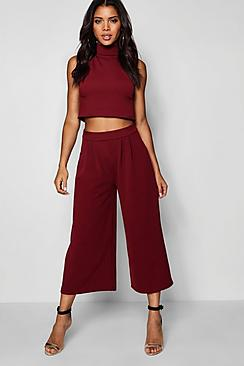 Rose High Neck Crop & Culotte Co-Ord Set