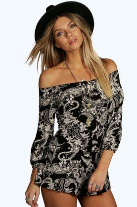 Lily Paisley Off The Shoulder Playsuits