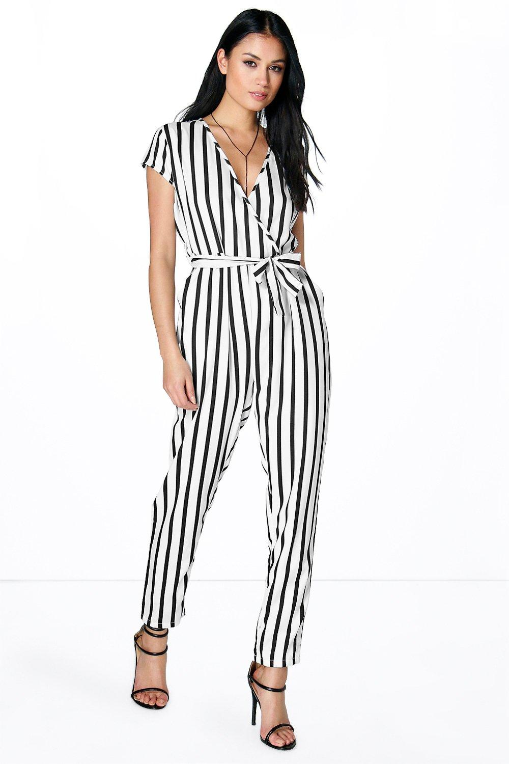 Jenna Capped Sleeve Striped Jumpsuit