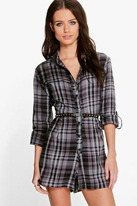 Julia Brushed Check Shirt Style Playsuit