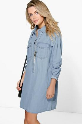 Penny Oversized Pocket Denim Shirt Dress