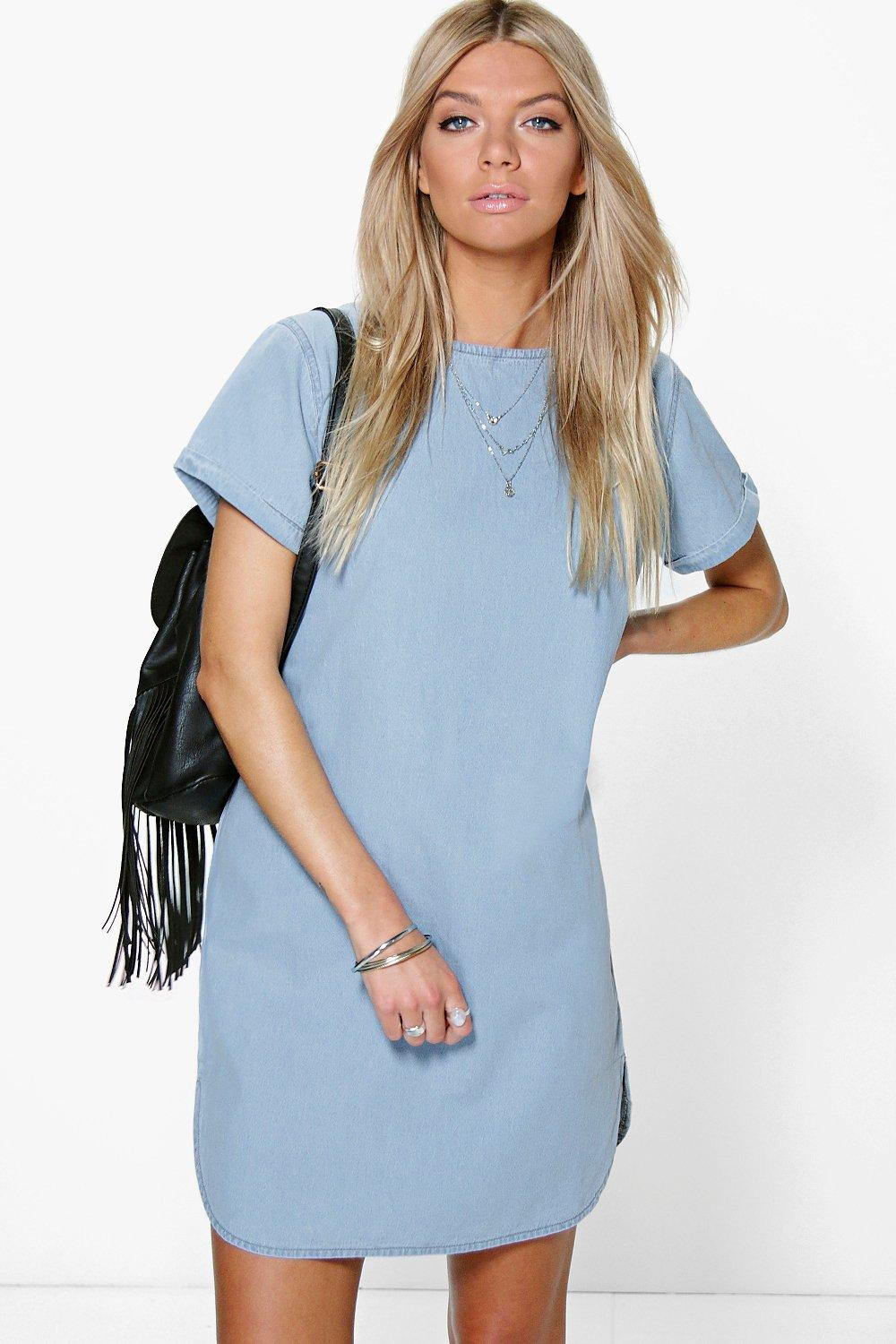 Carla Curved Hem Cap Sleeve Denim Shift Dress