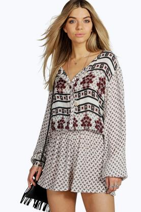 Mollie Mix Print Long Sleeve Playsuit