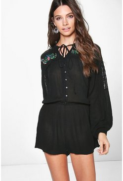Tia Embroidered Lace Insert Smock Style Playsuit