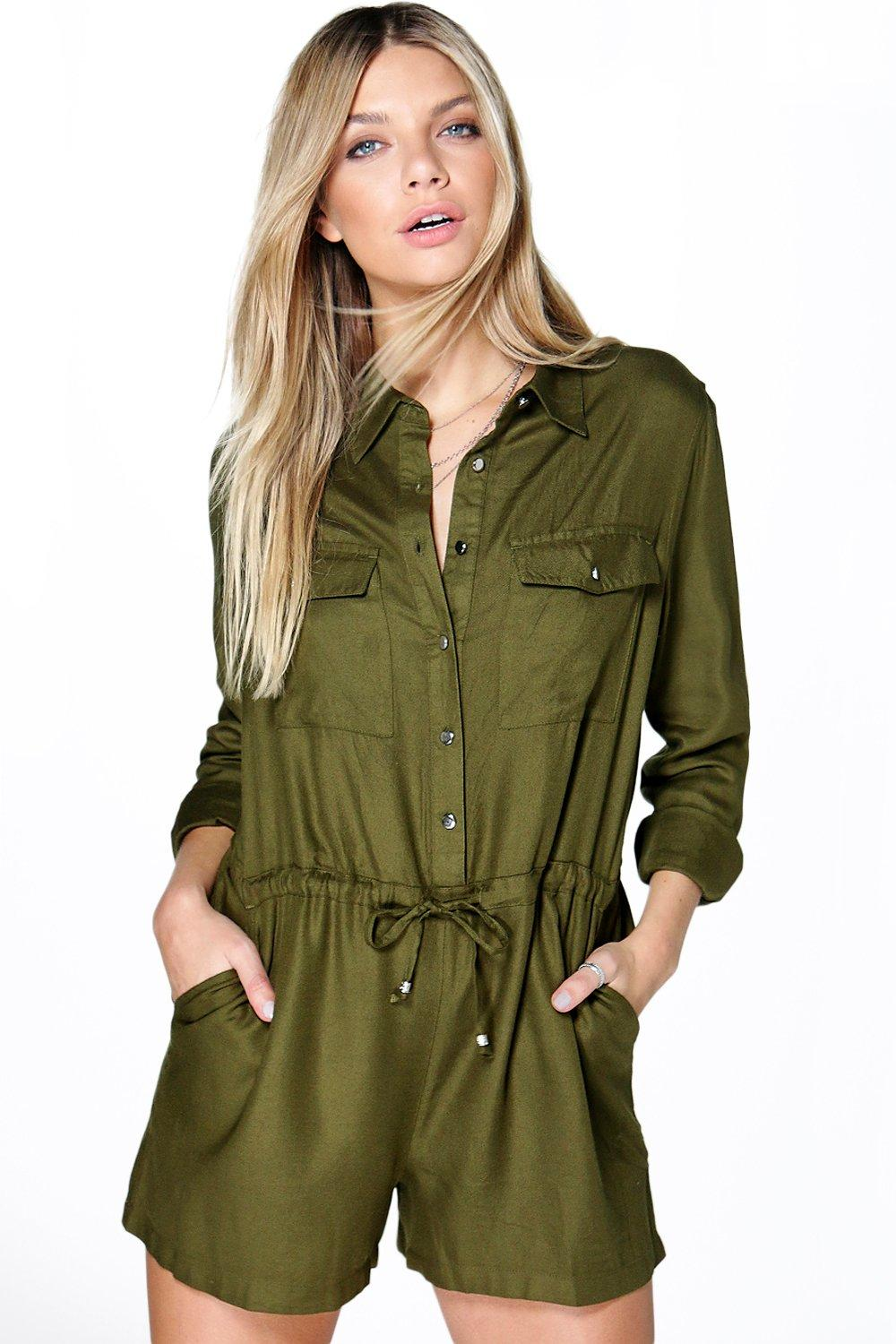 Eleanor Utility Style Long Sleeve Playsuit