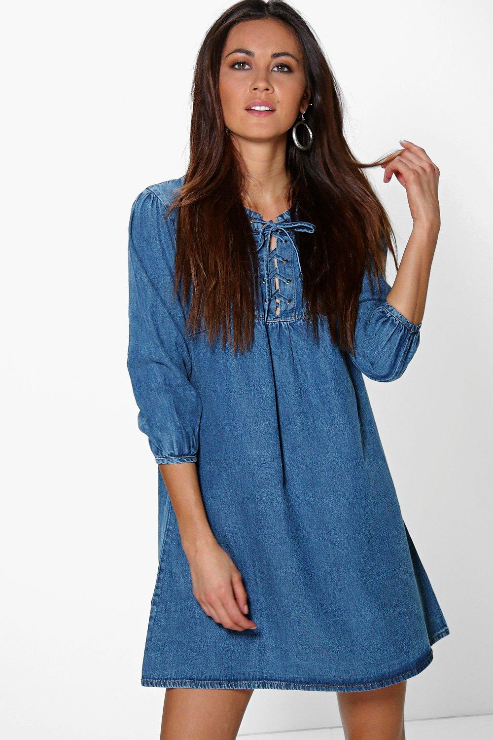 Lisa Smock Style Lace Up Denim Dress