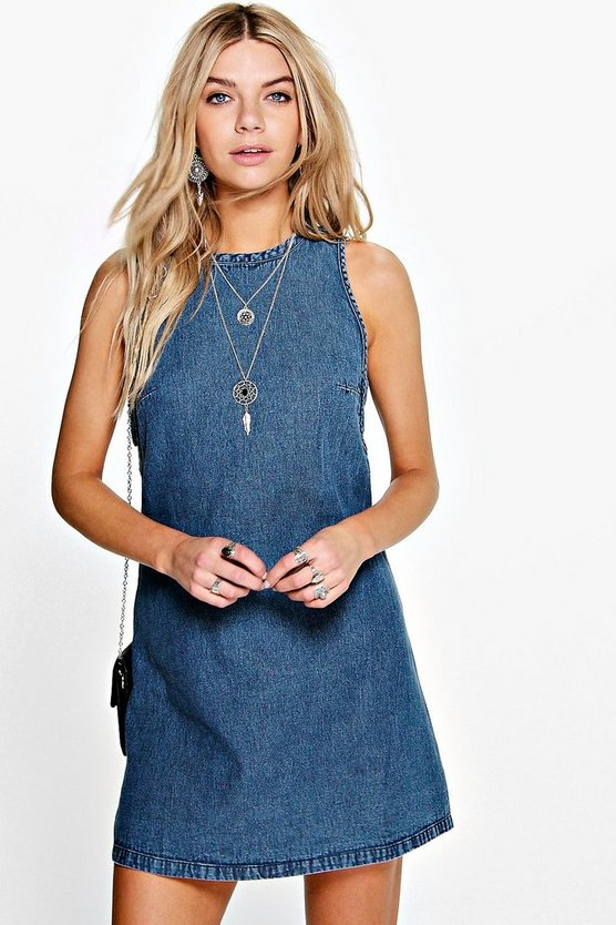 Lolah Tab Side Denim Shift Dress