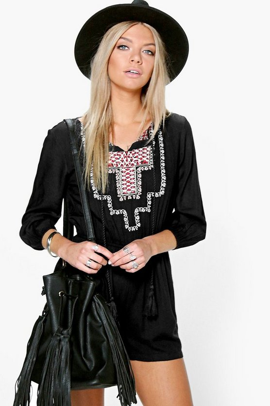 Lisa Embroidered 3/4 Sleeve Playsuit