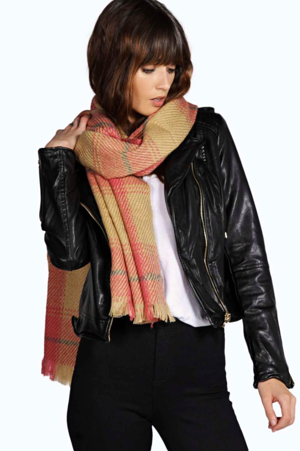 Oversize Tartan Check Scarf - pink - Scarves and h