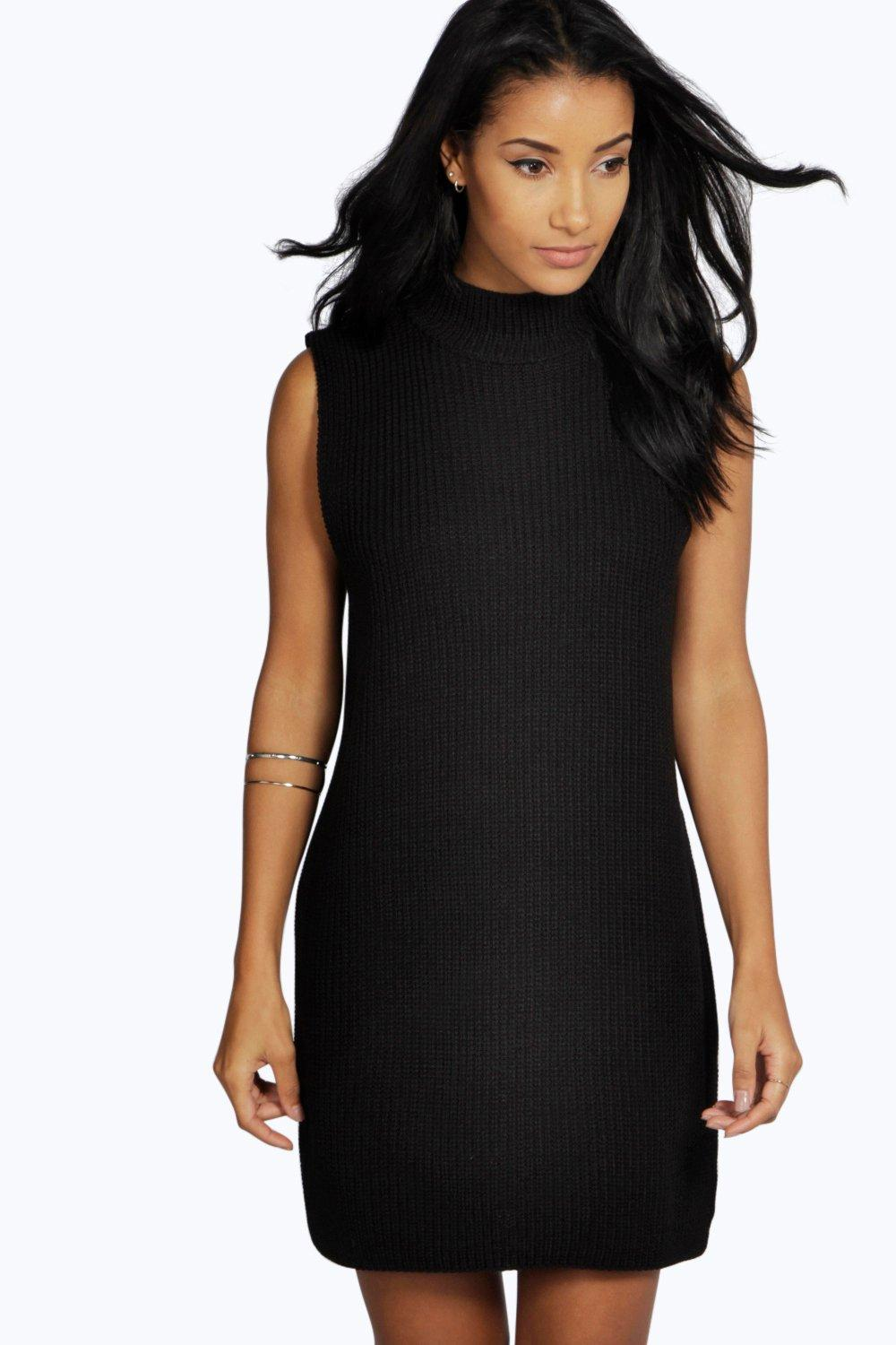 boohoo Sofia Turtle Neck Tunic Dress - black