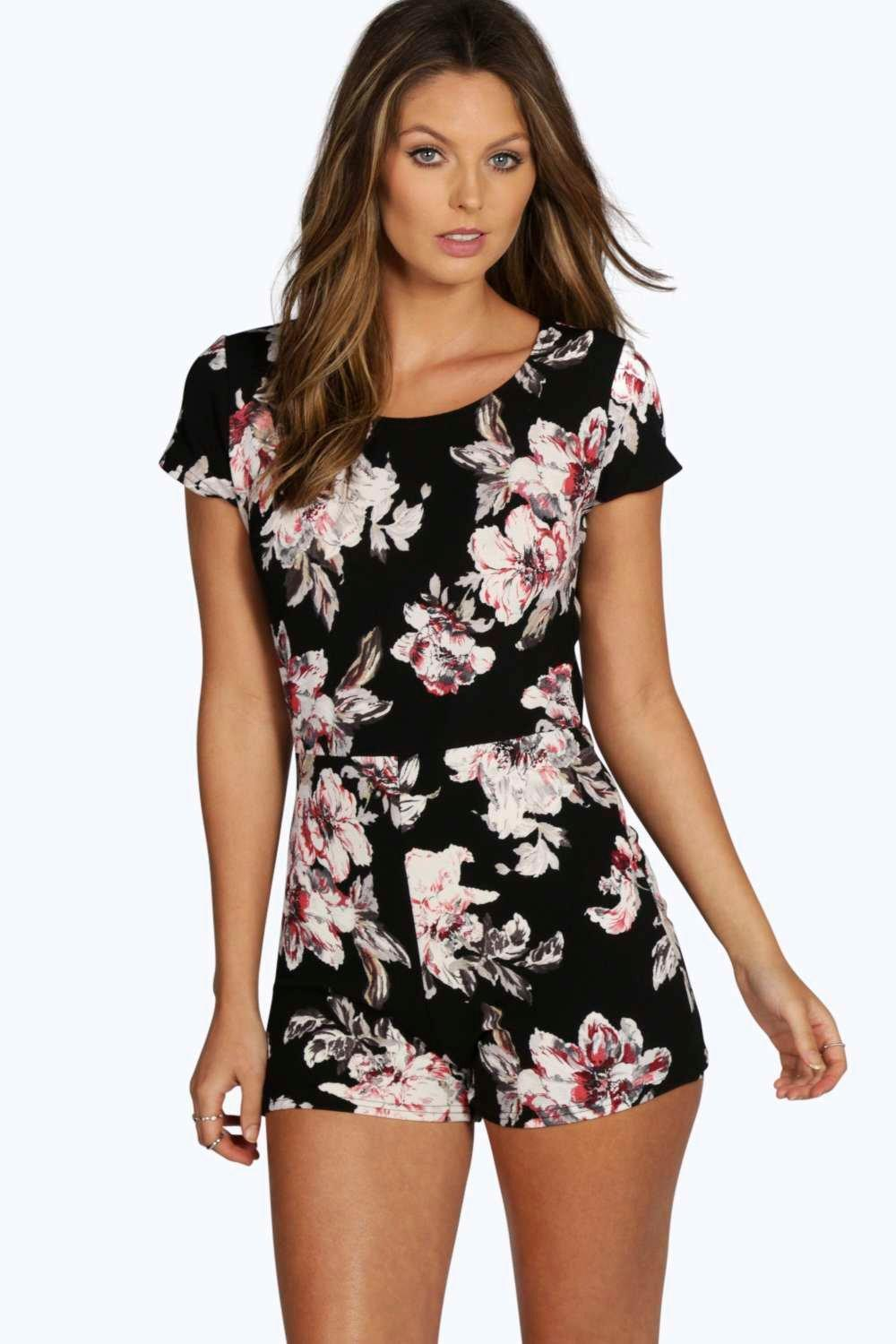 Georgie Floral Capped Sleeve Playsuit