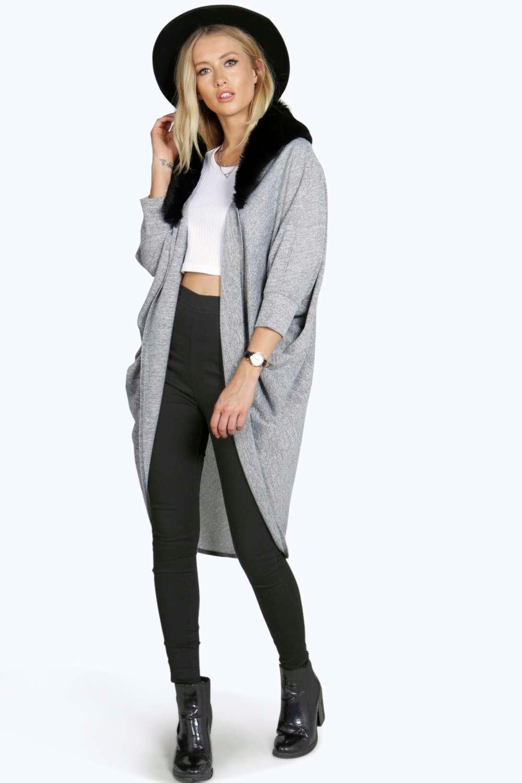 Faux Fur Collar Fine Gauge Cardigan grey