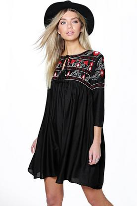 Boutique Abby Heavy Embroidered Smock Dress