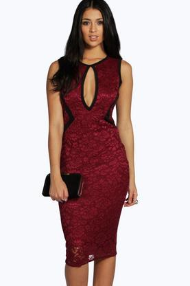 Addison Contrast Binding Lace Midi Dress