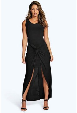 Aileen Slinky Ruched Front Dip Hem Midi Dress