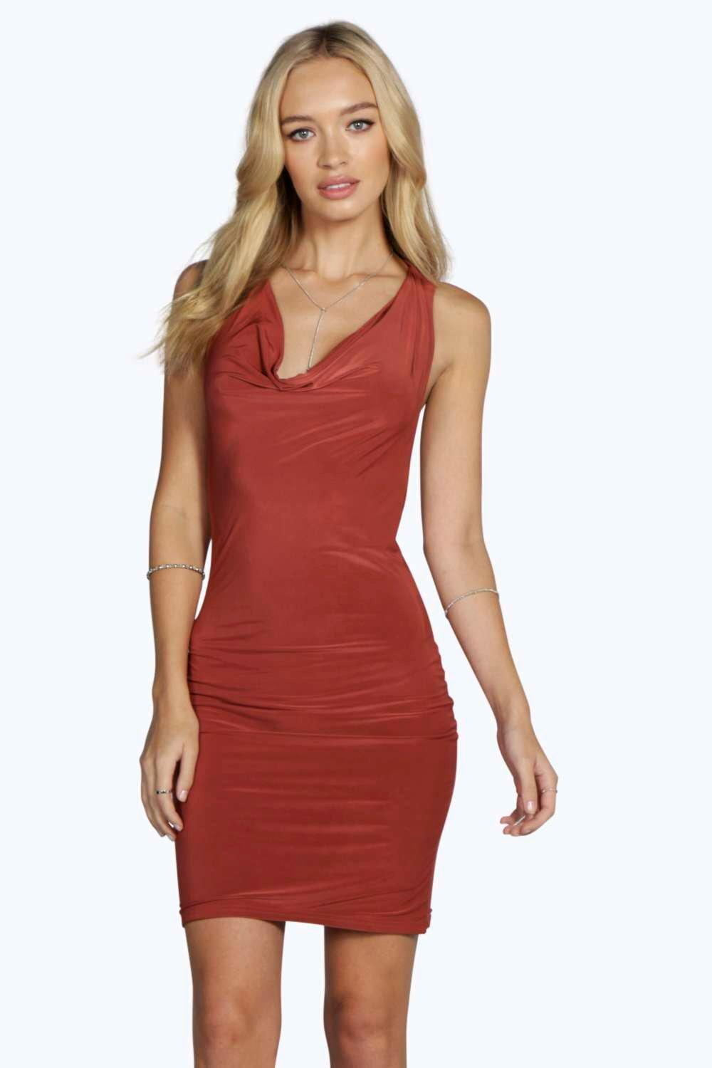 Aida Slinky Cowl Front Bodycon Dress