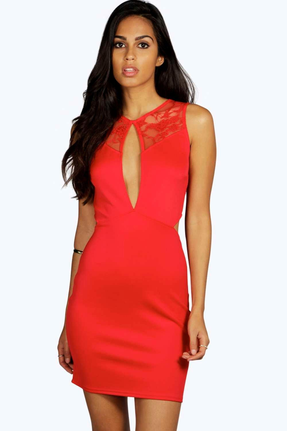 Aisha Cut Out Lace Detail Midi Dress