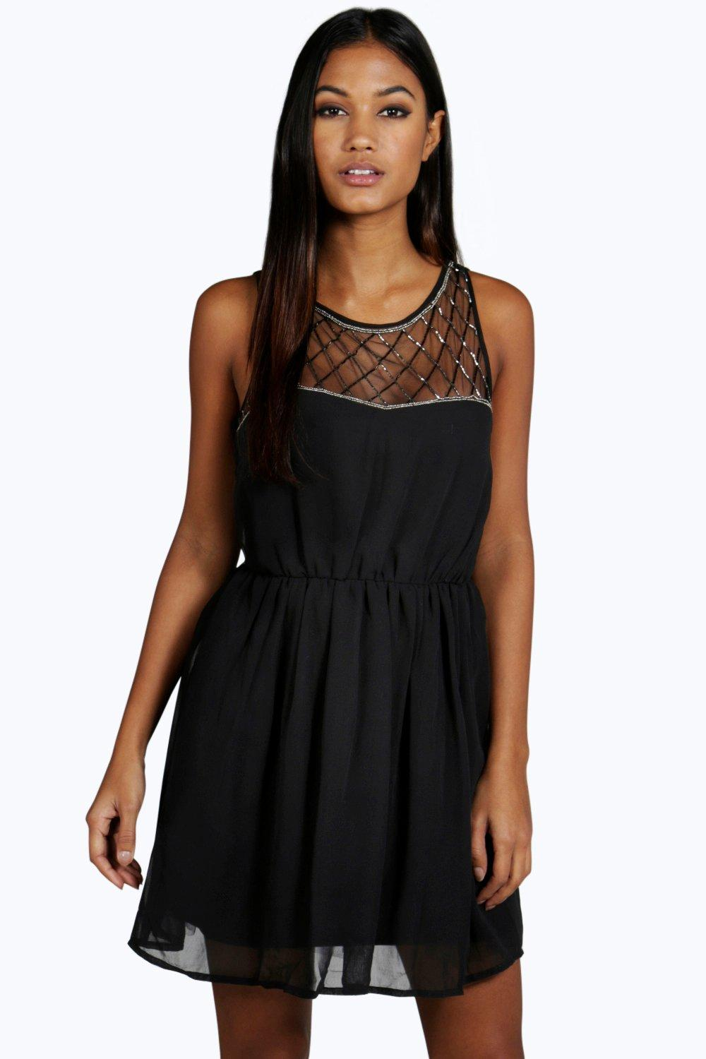 Ava Embellished Top Skater Prom Dress  black
