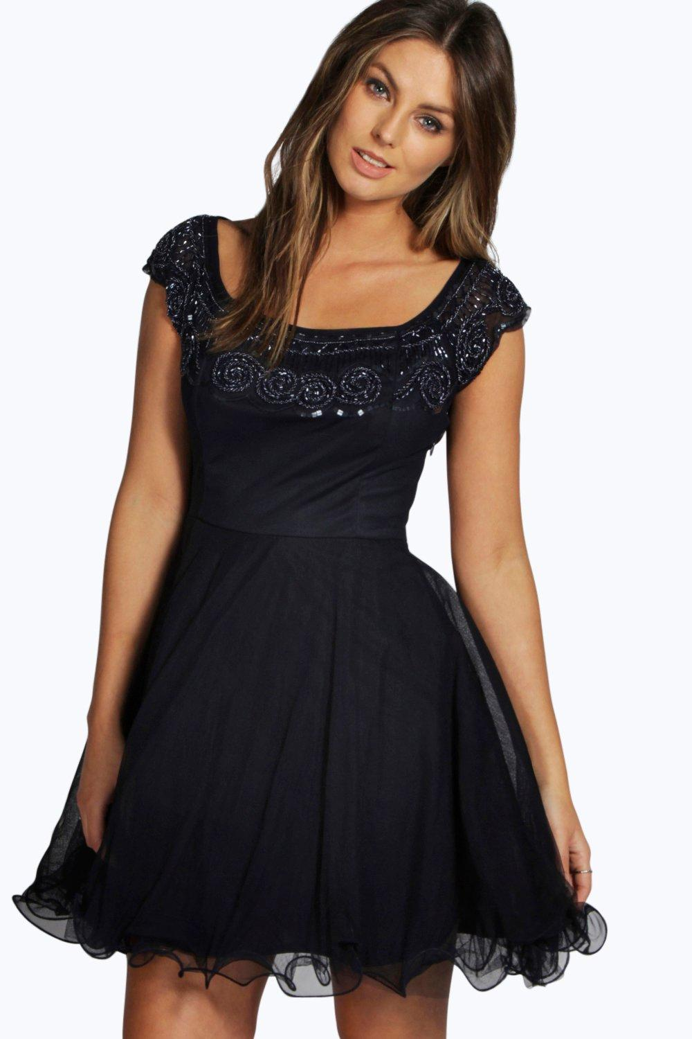 Boutique Clara Embellished Tutu Skirt Prom Dress