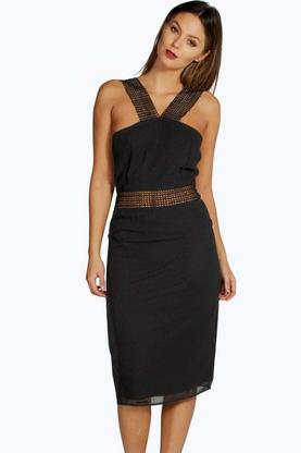 Boutique Mya Crochet Trim Detail Midi Dress