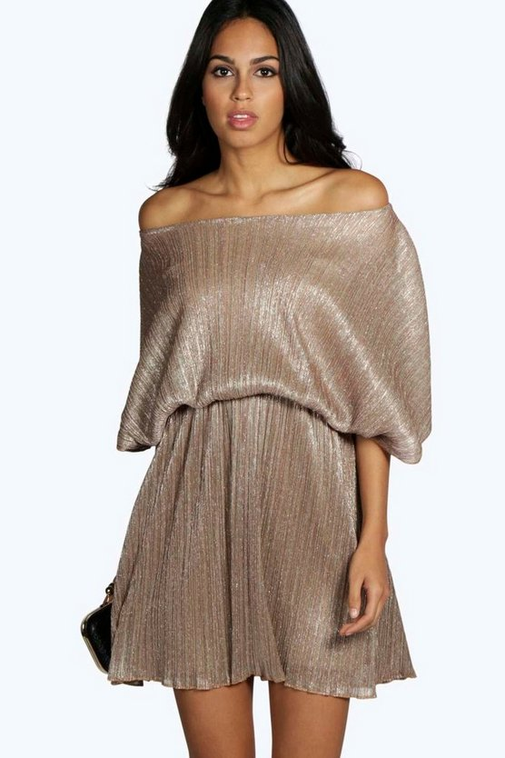 Karina Pleated Metallic Skater Dress