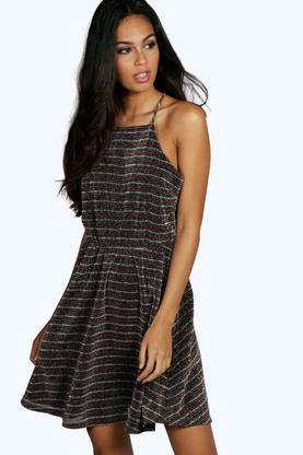 Rosie Metallic Stripe Drape Back Skater Dress