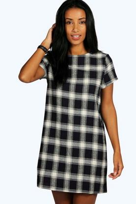 Rebecca Check Cap Sleeve Shift Dress