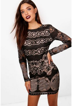 Claire Lace Panelled Long Sleeve Bodycon Dress