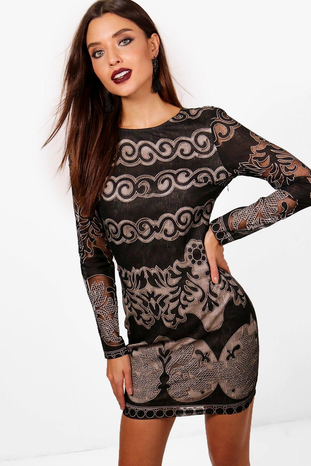 Claire Lace Panelled Long Sleeve Bodycon Dress | Boohoo