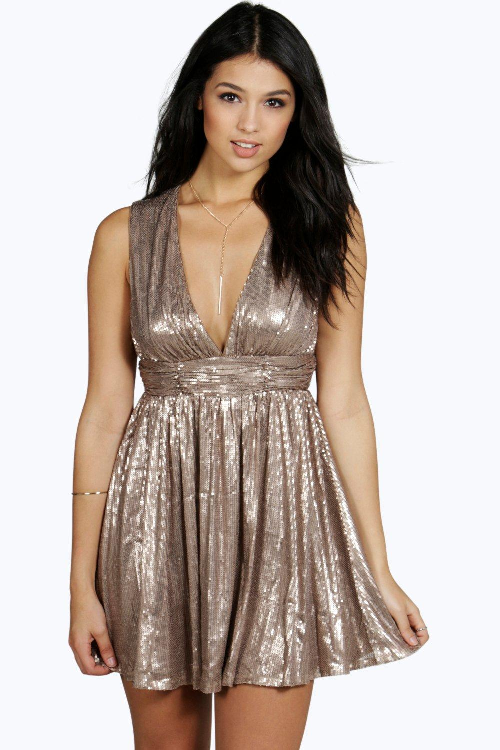 Samar All Over Sequin Plunge Neck Skater Dress
