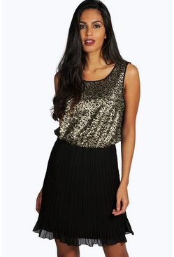 Taylor Sequin Top Pleated Skater Dress