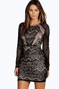 Vanessa Lace Panelled Long Sleeve Bodycon Dress