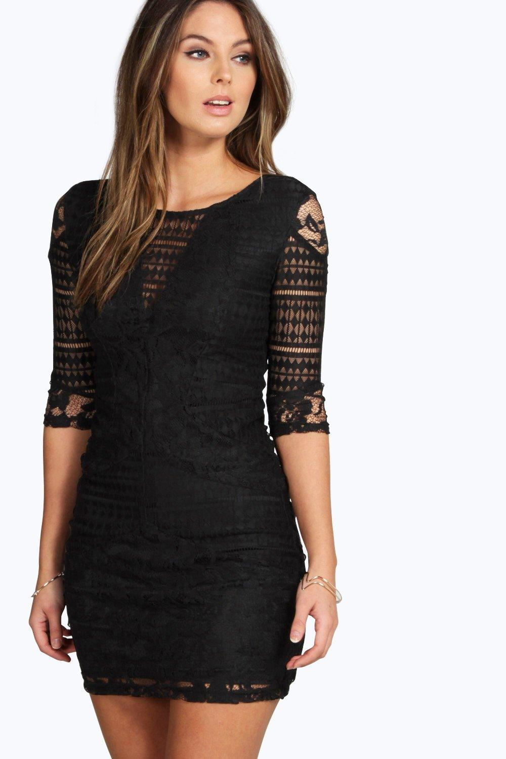 Mia All Over Lace Panelled Bodycon Dress