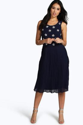 Boutique Ina Embellished Pleated Skirt Skater Dress